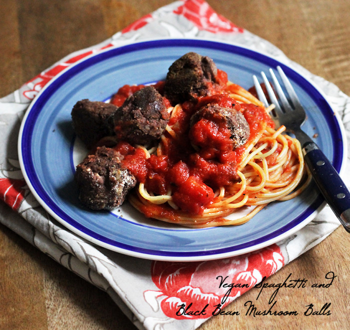 Spaghetti and Black Bean Mushroom Vegan Meatballs