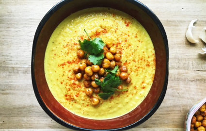 Vegan Soup Recipes: Curried Cauliflower & Chickpea Bisque