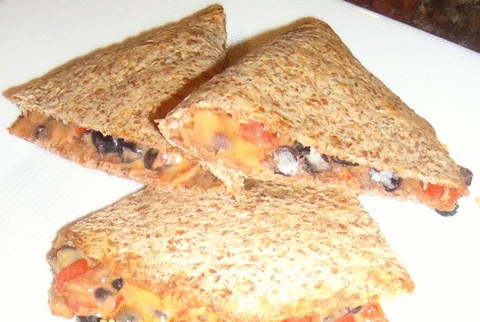 Mushroom and Black Bean Quesadilla, with and without vegan cheese