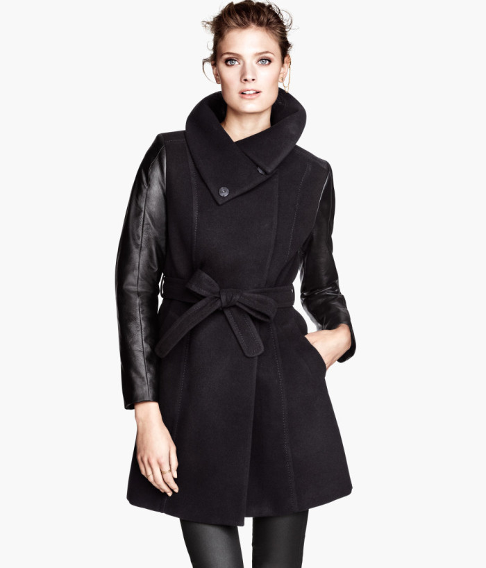 faux leather trim coat by h&m
