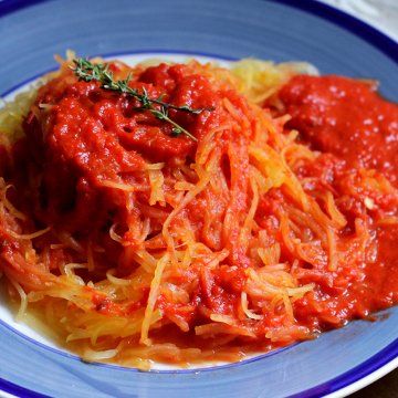 Gluten Free Spaghetti Squash Pasta with Roasted Red Pepper Sauce | Peaceful Dumpling