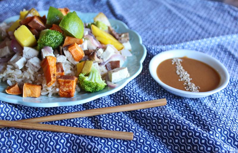 Healthy Dinner: Roasted Mango and Sweet Potato Rice