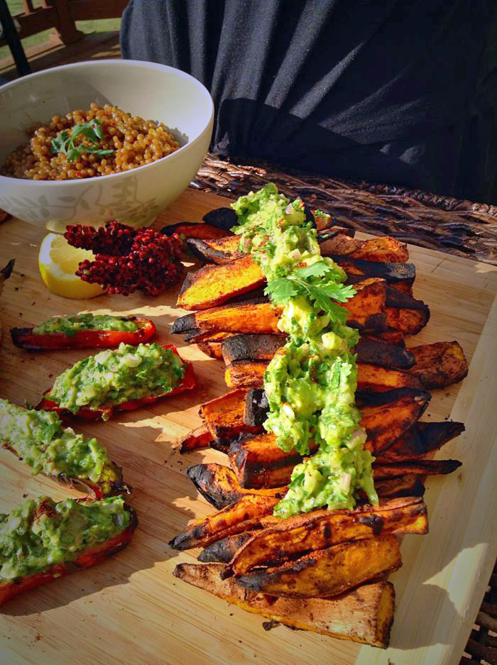 Healthy Sides: Grilled Sweet Potatoes w/ Avocado Chimichurri Sauce