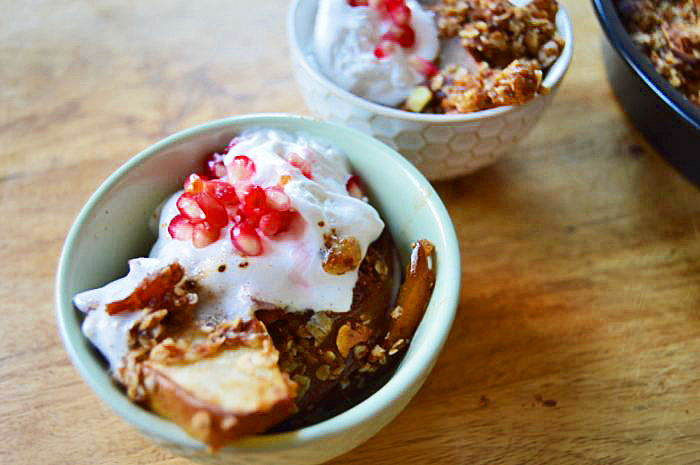 Vegan Dessert Recipes: Pear Crumble Tarte with Coconut Whip