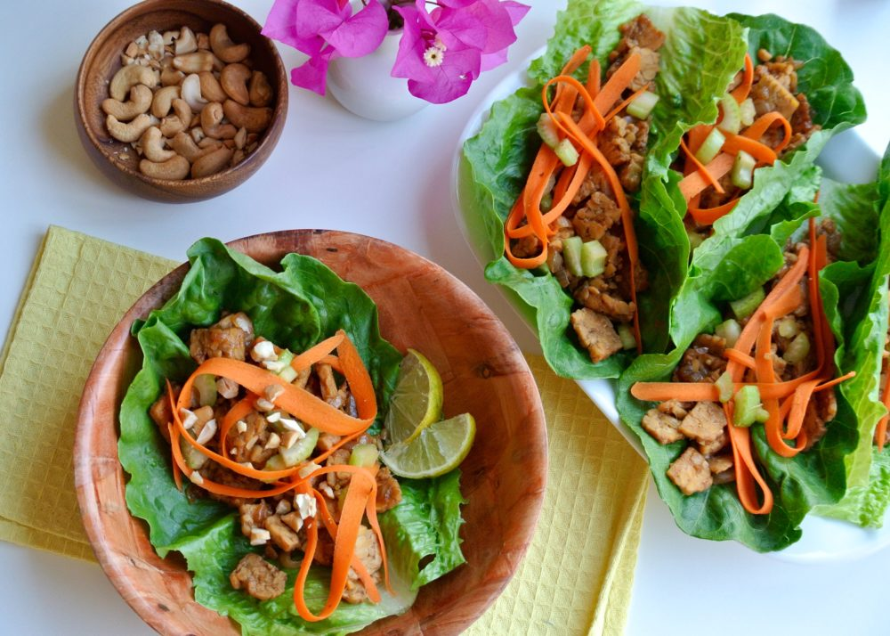 Teriyaki Tempeh Boats With Crunchy Carrot & Celery Salad