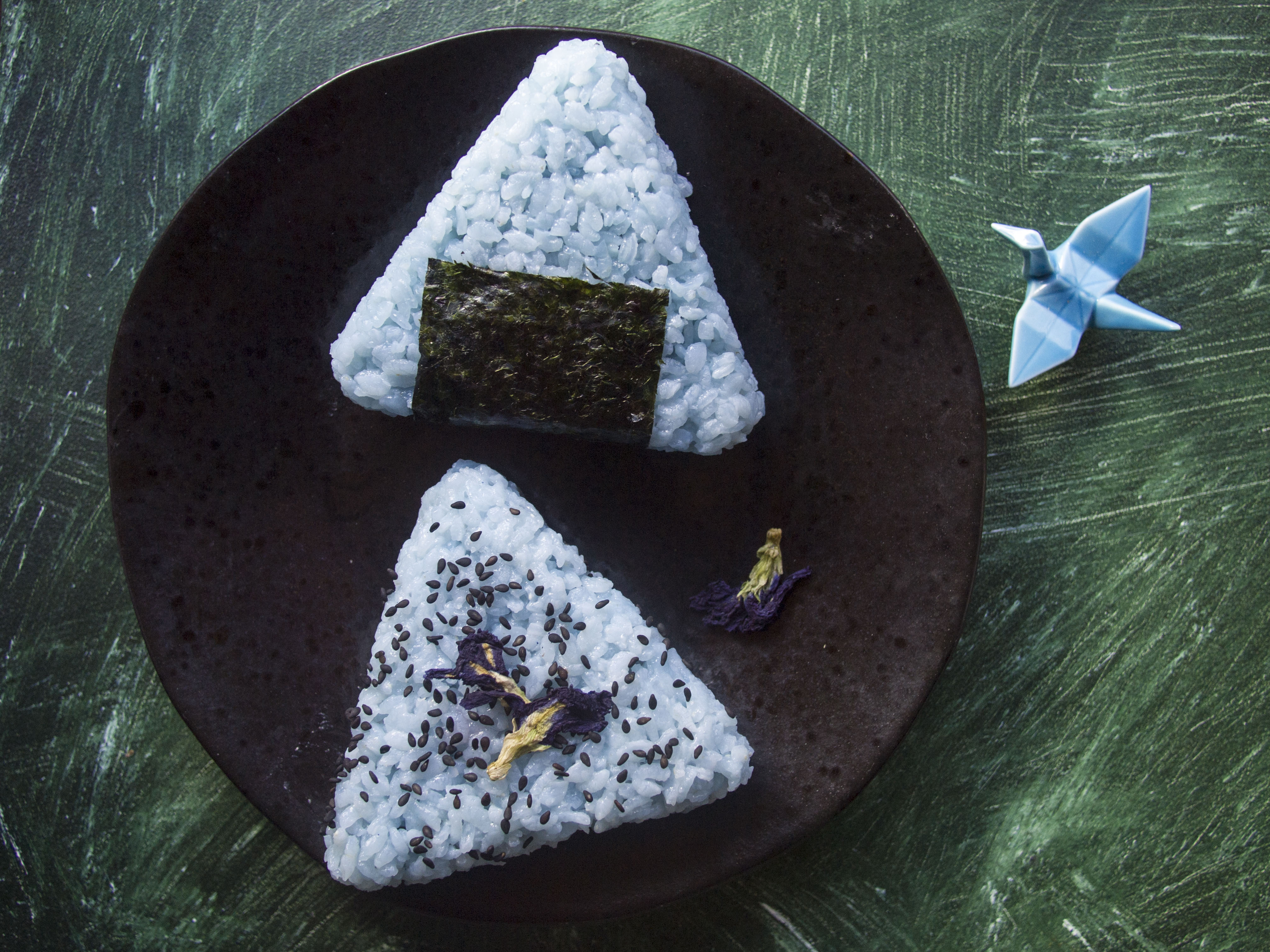 Vegan Blue Onigiri with Curry Chickpea Filling