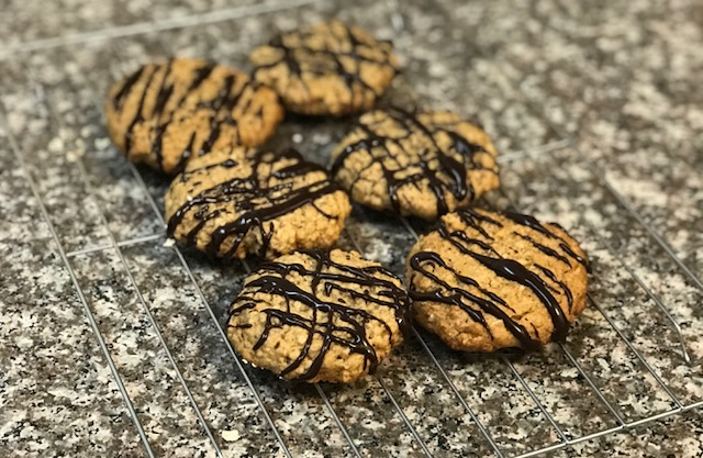 Vegan Peanut Butter Oatmeal Chocolate Drizzled Cookies