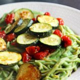 Roasted Garlic Supergreens Cauliflower Alfredo With Zucchini & Tomatoes