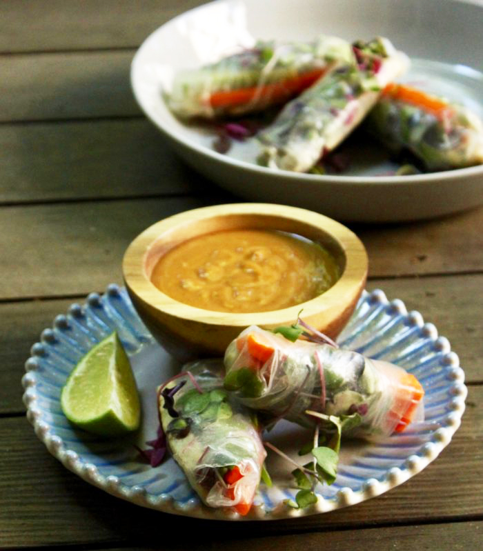 Coconut Lime Tempeh Summer Rolls With Peanut Dipping Sauce