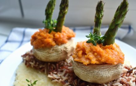 Vegan Stuffed Mushrooms With Parsley Root Purée