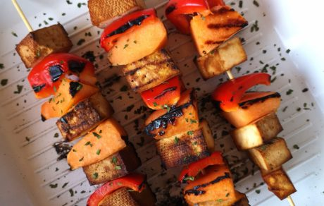Vegan Grilled Tofu & Melon Saslik With Spicy Mustard (Hungarian Kebab)