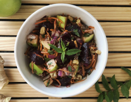 Carrot Apple Beet Salad With Maple Balsamic Dressing