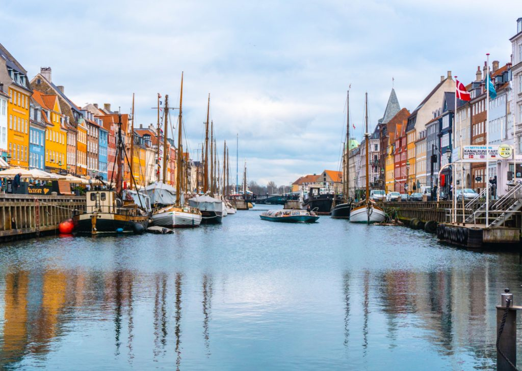 A colorful waterfront city in Denmark