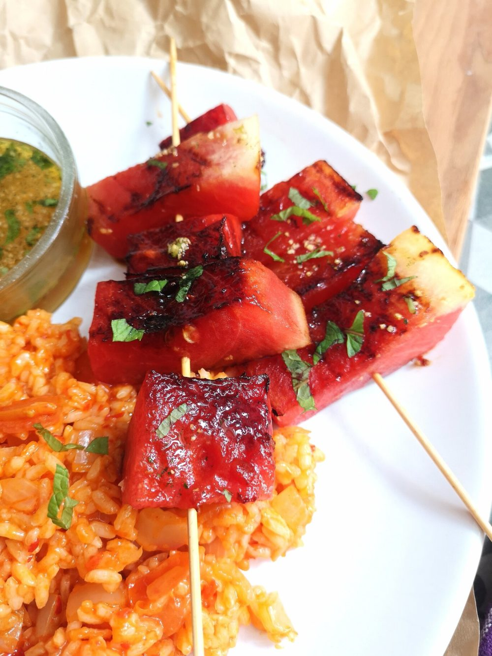 grilled watermelon and turkish rice
